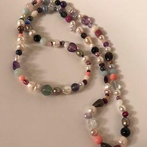 """Jewelry - 27"""" Pearl, Rainbow Fluorite, Topaz Garnet Necklace"""